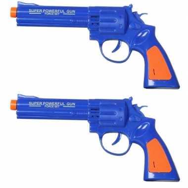 Groothandel set van 2x stuks politie speelgoed pistool/pistolen blauw met geluid 23 x 11 cm kopen