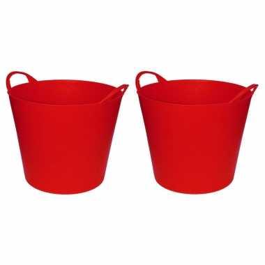 Groothandel set van 2x stuks rode flexibele opbergmanden / emmers 20 liter speelgoed kopen