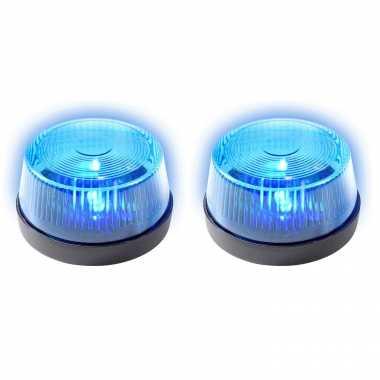 Groothandel set van 2x stuks signaallampen/signaallichten blauw led licht 10 cm politie speelgoed/feestverlichting kopen