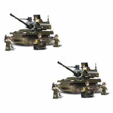 Groothandel set van 2x stuks sluban leger speelgoed tank 32 cm bouwsteentjes kopen