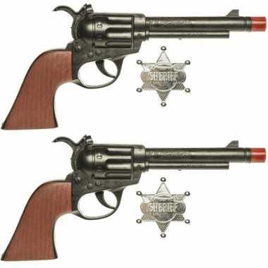 Groothandel set van 2x stuks speelgoed cowboy pistolen met sheriff ster 24 cm kopen
