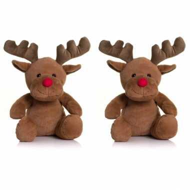 Groothandel set van 2x stuks speelgoed knuffels rendieren 30 cm kopen