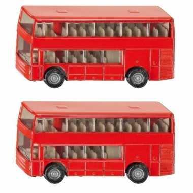 Groothandel set van 2x stuks speelgoedauto siku dubbeldekker bussen 10 cm kopen