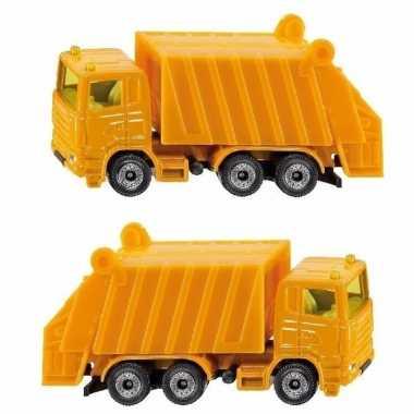 Groothandel set van 2x stuks speelgoedautos siku vuilniswagen 10 cm kopen