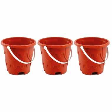 Groothandel set van 3x zandkasteel emmers/strandemmertjes rood 18 x 16 cm speelgoed kopen