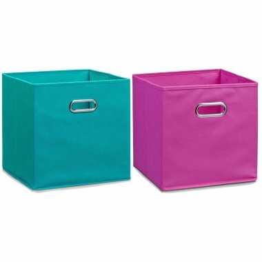 Groothandel set van 4x stuks opbergmanden/kastmanden 32 x 32 cm petrol en roze speelgoed kopen