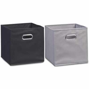 Groothandel set van 4x stuks opbergmanden/kastmanden 32 x 32 cm zwart en grijs speelgoed kopen