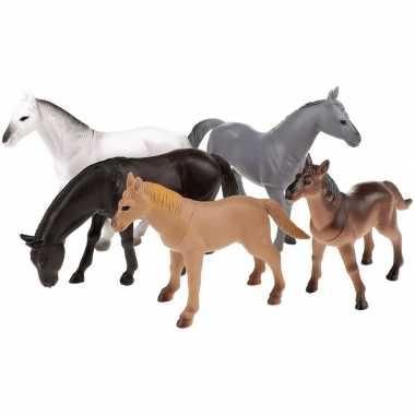 Groothandel set van 5x plastic paarden figuren speelgoed 12cm kopen