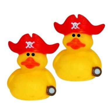 Groothandel set van 6x stuks geel kapitein met rode muts 5 cm speelgoed kopen