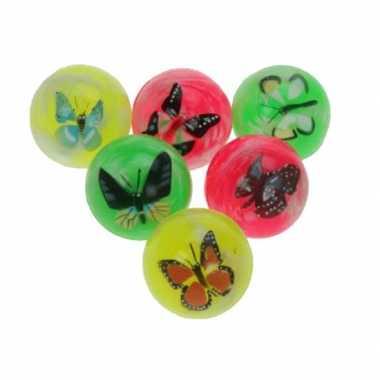 Groothandel set van 6x stuks grote stuiterballen met vlinder 4,5m cm speelgoed kopen