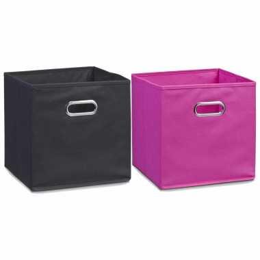 Groothandel set van 6x stuks opbergmanden/kastmanden 28 x 28 cm zwart en roze speelgoed kopen