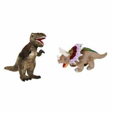 Groothandel setje van 2x knuffel dinosaurussen t-rex en triceratops speelgoed kopen