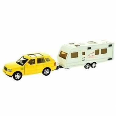 Groothandel speelgoed auto met caravan geel voor jongens kopen