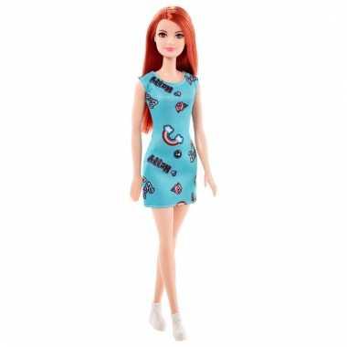 Groothandel speelgoed barbie trendy pop met mint groen jurkje en rood haar
