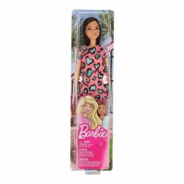 Groothandel speelgoed barbie trendy pop met roze jurkje en bruin haar voor meisjes/kinderen kopen