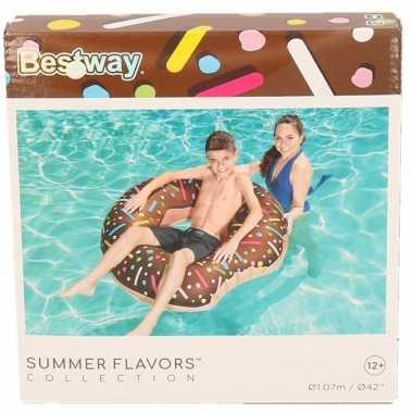 Groothandel speelgoed chocolade opblaas donut 107 cm kopen