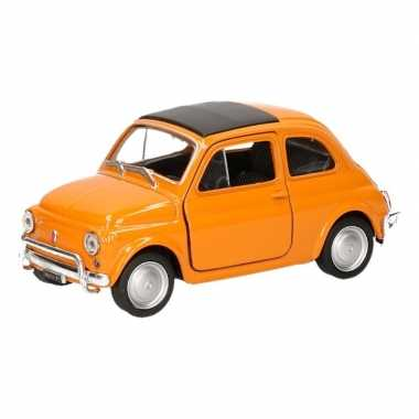 Groothandel speelgoed fiat 500 classic oranje welly autootje 1:36 kop