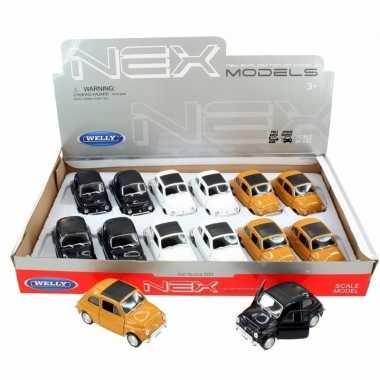 Groothandel speelgoed fiat 500 classic wit welly autootje 10,5 cm kop