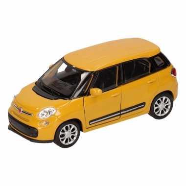 Groothandel speelgoed fiat 500 l geel welly autootje 11,5 cm kopen