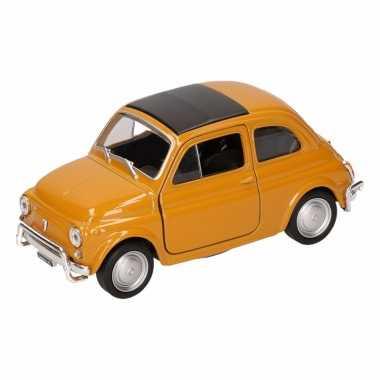 Groothandel speelgoed fiat nuova 500 donkergeel welly autootje 10,5 c