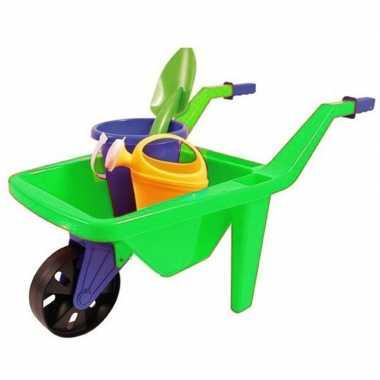 Groothandel speelgoed groene kruiwagen zandbak setje 65 cm kopen