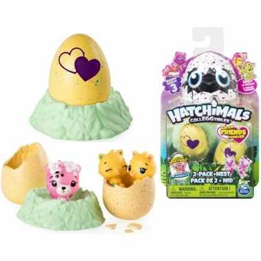 Groothandel speelgoed hatchimals colleggtibles nest met 2 eieren geel