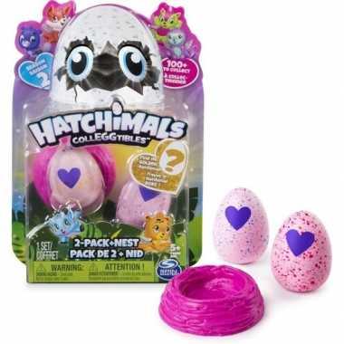 Groothandel speelgoed hatchimals colleggtibles nest met 2 eieren roze