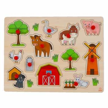 Groothandel speelgoed houten noppenpuzzel boerderij thema 30 x 22 cm kopen