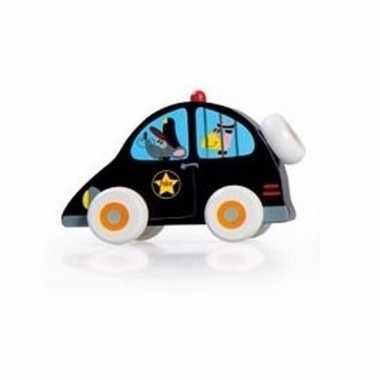 Groothandel speelgoed houten zwarte politiewagen 10 cm kopen