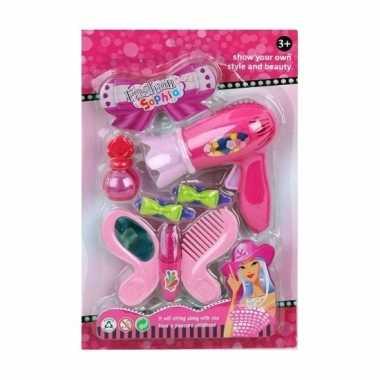 Groothandel speelgoed kapper/kapsalon set donkerroze voor meisjes kop