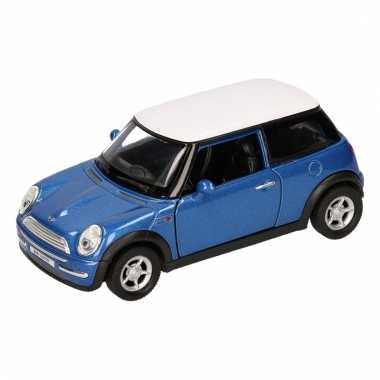 Groothandel speelgoed mini cooper blauw autootje 12 cm kopen