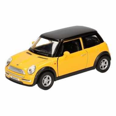 Groothandel speelgoed mini cooper geel autootje 12 cm kopen