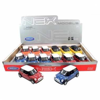 Groothandel speelgoed mini cooper geel welly autootje 11 cm kopen