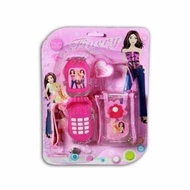 Groothandel speelgoed mobiele telefoon roze met tasje kopen
