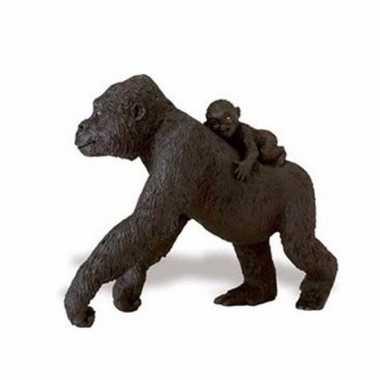 Groothandel speelgoed nep gorilla met baby op haar rug 11 cm kopen