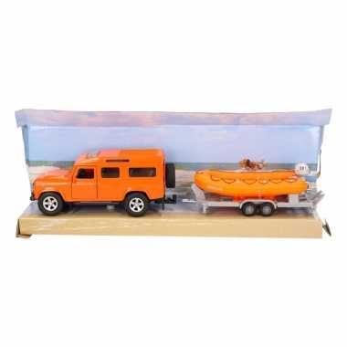 Groothandel speelgoed oranje auto land rover met reddingsboot kopen