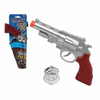 Groothandel speelgoed pistool politie zilver 27 cm kopen