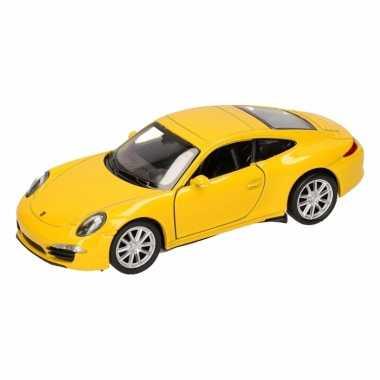 Groothandel speelgoed porsche 911 carrera s geel welly autootje 1:36