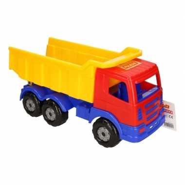 Groothandel speelgoed rood/geel/blauwe vrachtwagen met oplegger voor