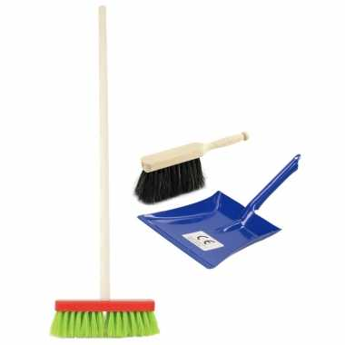 Groothandel speelgoed schoonmaak set stoffer en blik blauw met gekleurde bezem kopen