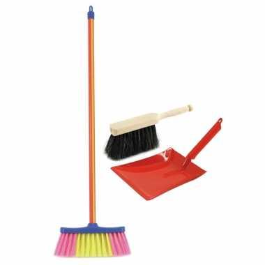 Groothandel speelgoed schoonmaak set stoffer en blik rood met gekleurde bezem kopen