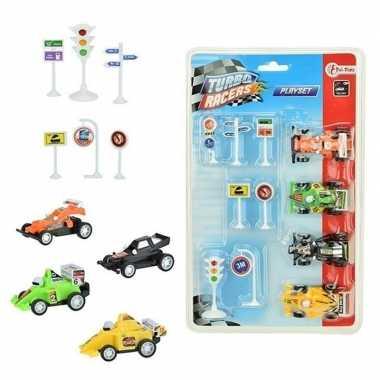 Groothandel speelgoed set met raceauto en verkeersborden kopen