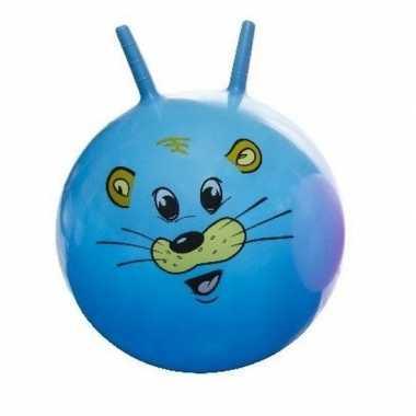 Groothandel speelgoed skippybal met dieren gezicht blauw 46 cm kopen
