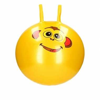Groothandel speelgoed skippybal met dieren gezicht geel 46 cm kopen