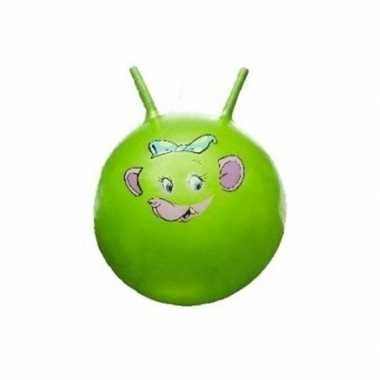 Groothandel speelgoed skippybal met dieren gezicht groen 46 cm kopen