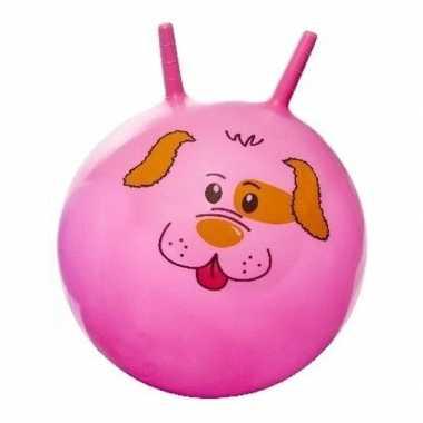 Groothandel speelgoed skippybal met dieren gezicht roze 46 cm kopen