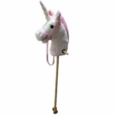 Groothandel speelgoed stokpaardje wit/roze eenhoorn kopen