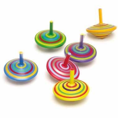 Groothandel speelgoed tollen van hout 6 stuks kopen