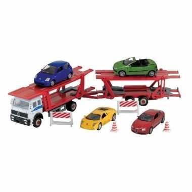 Groothandel speelgoed vrachtwagen met autootjes op aanhanger 1:60 kop