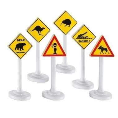 Groothandel speelgoed waarschuwingsborden 6 stuks kopen